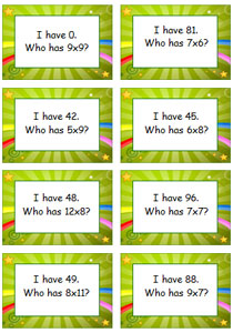 Multiplication Game - Cards