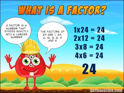 What is a factor? A Free Printable Poster for the Math Vocabulary Wall