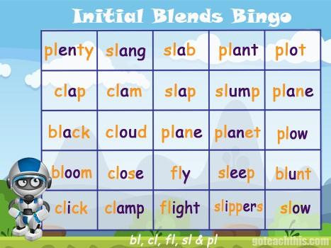 Initial Blend Game - bl, fl, cl, pl & sl