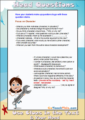 3H Reading Strategy - Head Questions - Character Focus