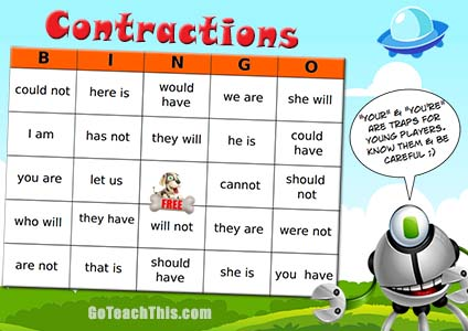 Contractions Practice Game