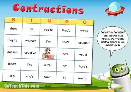 Contractions Practice Game - Bingo