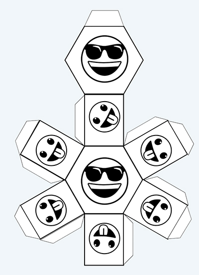 hexagonal prism net -Black & White