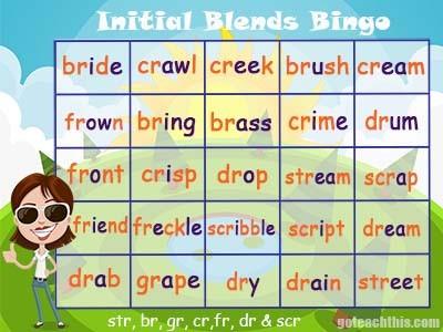 Initial Blends Bingo Game