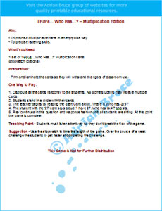 multiplication game rules