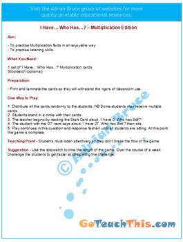 Multiplication Game - Rules