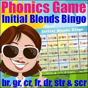 Initial Blends Bingo- br, gr, cr, fr, dr, str & scr