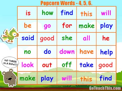 Popcorn Words Game