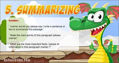 Reciprocal Teaching Prompt Card Five - Summarizing/Summarising